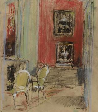 Rode salon met gele stoeltjes, Museum van Loon