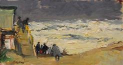 Storm aan zee met mensen, circa 1994