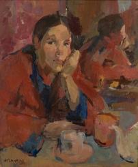 Portret vrouw in rode kimono