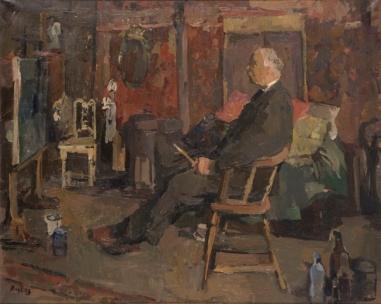 De schilder Kees Verwey in zijn atelier, 1967