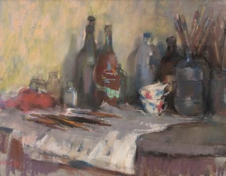 Atelier, tafel met penselen